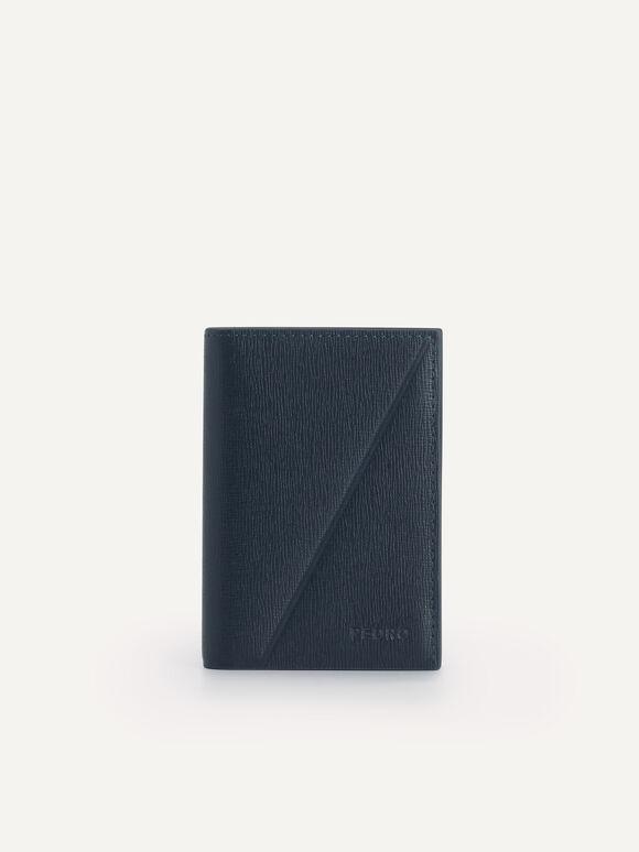 Textured Leather Bi-Fold Cardholder, Navy, hi-res