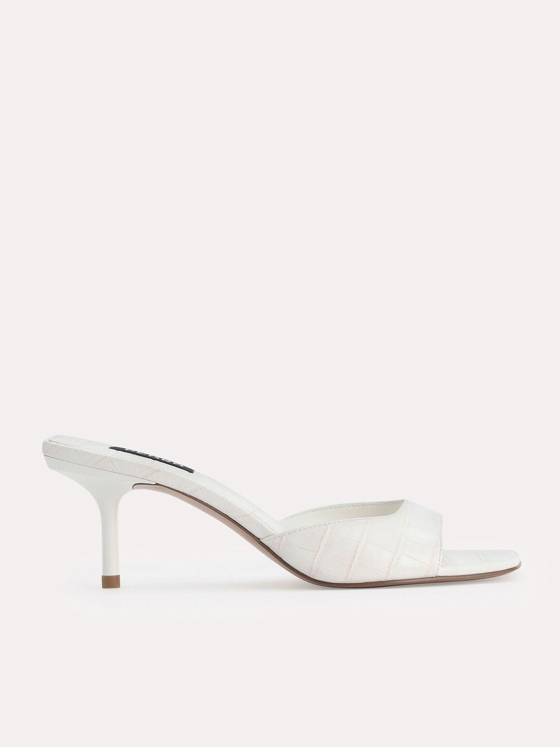 鱷魚紋高跟涼鞋, 粉笔白, hi-res