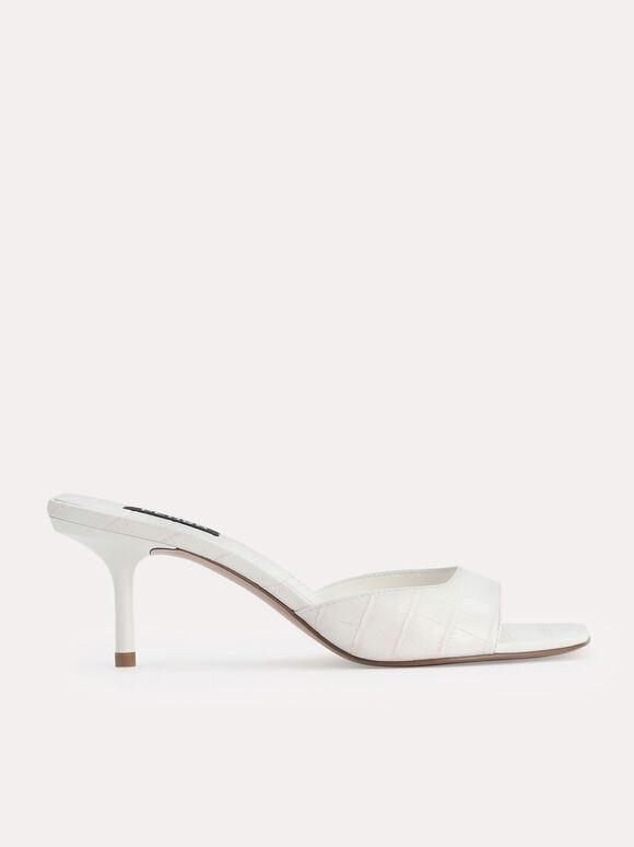 Croc-Effect Heeled Sandals, Chalk, hi-res