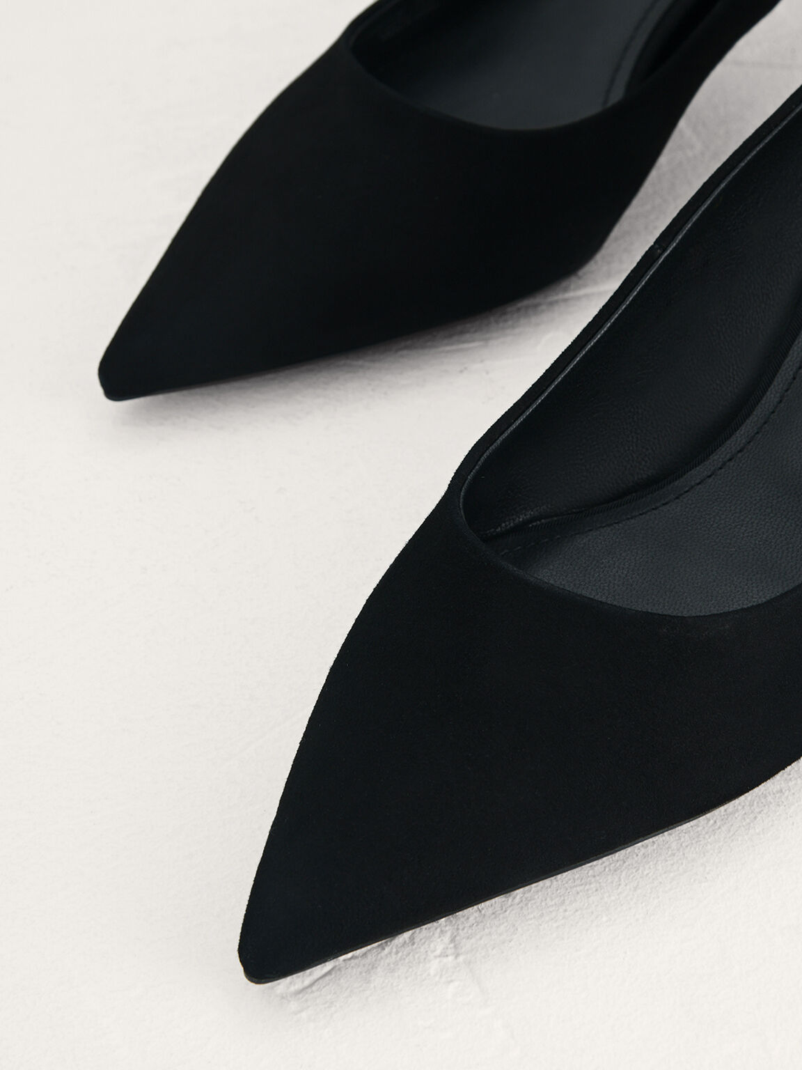 Suede Leather Pointed Pumps, Black, hi-res