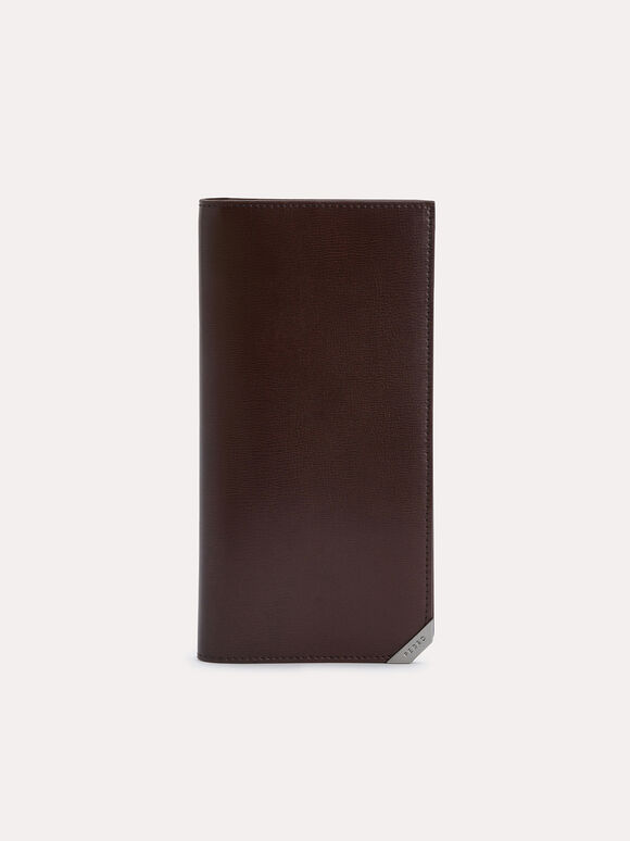 Long Textured Leather Wallet, Brown, hi-res
