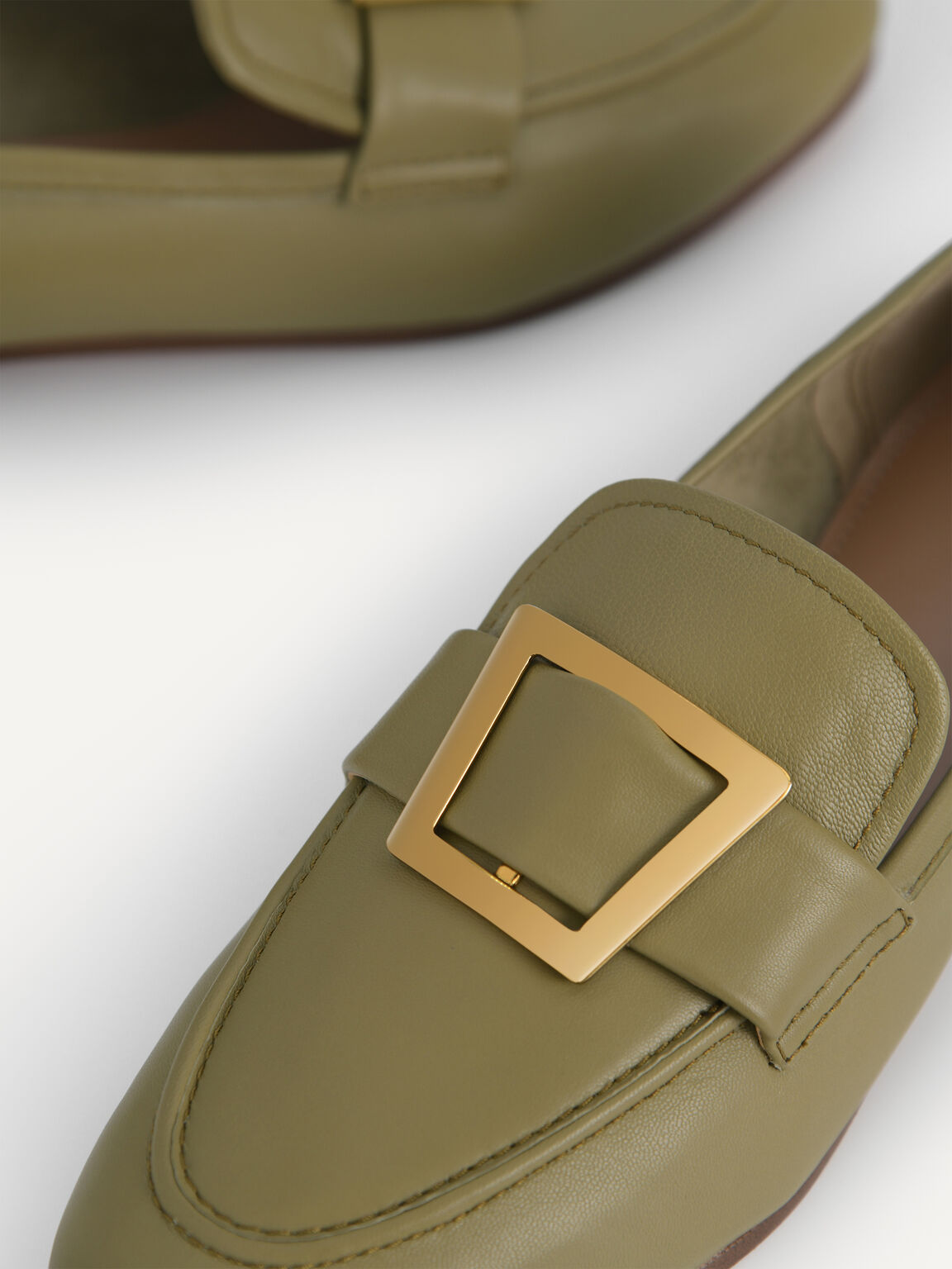 Leather Buckle Loafers, Olive, hi-res